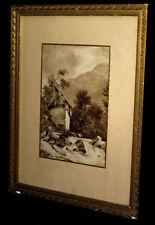 [Dessin / Aquarelle] Lavis d'encre figurant un paysage alpin.