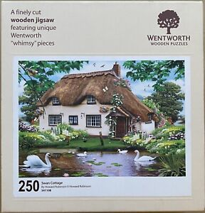"""WENTWORTH """"Swan Cottage"""" 250 piece Wooden JIGSAW PUZZLE Whimsy"""