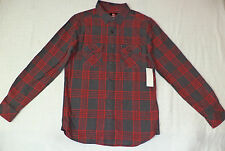 NWT Quiksilver L/S Red & Gray Plaid Button Front  Flannel Shirt     M       F122
