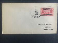 1938 US Navy Post Office Shanghai China Cover to USA USS Sacramento