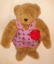 """Vermont Teddy Bear Light Brown Bear 16"""" with Purple Roses Apron and Bouquet"""