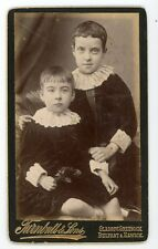 Boys in white lace collar dresses. Antique carte de visite photo CDV