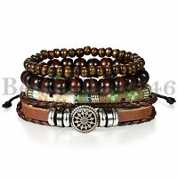 4PCS  Brown Leather Tribal Beaded Cuff Wristband Bracelet for Men Women