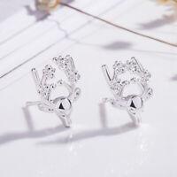 925 Sterling Silver Stud Earrings Reindeer Womens Girls Jewellery