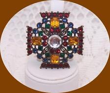 JOAN RIVERS signed, Bronze, Maltese Cross Pin with Multi-colored Rhinestones