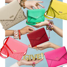 NWT KATE SPADE MONDAY Leather Saffiano Envelope Small Clutch Wallet purse COLORS