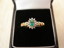 9 CARAT GOLD EMERALD & DIAMOND CLUSTER RING BRAND NEW IN BOX MADE IN ENGLAND