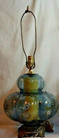 VTG Hollywood Regency MCM Clear Blue Glass Floral Table Lamp Footed 3-Way Lights