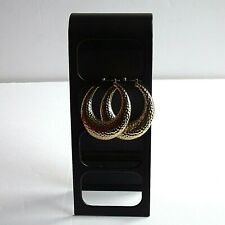 "Hip Hop Style Earrings 2"" Vtg. Large Gold Tone Hammered Metal"