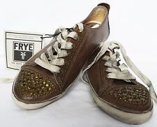 Women's FRYE KIRA Studded Taupe Leather Fashion Sneakers Sz. 6  $198