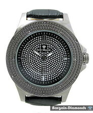 mens gunmetal black diamond watch ice out business hip hop clubbing leather