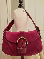 **NEARLY NEW COACH LEATHER & SUEDE HANDBAG, BAGUETTE, TOTE in BURGUNDY WINE**