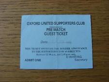 Billete De 11/09/1999: Oxford United v Gillingham (pre-match invitado, plegado). no Obvi