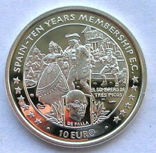 Isle of Man 1996 Spain-10 Years Membership 10 Euro Silver Coin,Proof