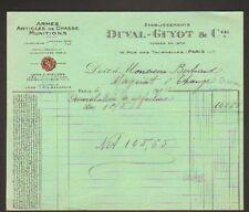 """PARIS (IV°) ARMES & MUNITIONS de CHASSE """"DUVAL , GUYOT & Cie"""" en 1925"""