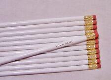 "12 Round ""White""  Personalized Pencils"