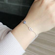 925 Sterling Silver Turkish Evil Eye Fatima Hamsa Hand Bracelet Women Arabic
