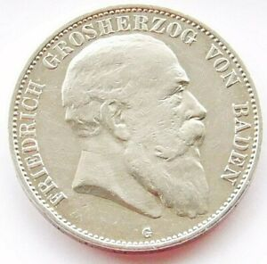 GERMAN 5 Mark 1904 G States BADEN Duke Friedrich 90% Silver EMPIRE WW1 NICE Coin