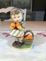 Vintage Napcoware Girl with Apples and Basket Figurine Japan