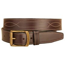 Tory Repeated Stitch Bridle Leather Belt - Black or Brown - Different Sizes
