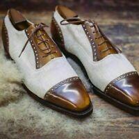 Cuir véritable beige et marron fait à la main pour hommes, chaussures habillées