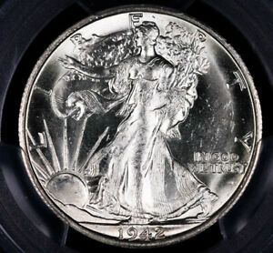 1942 S WALKING LIBERTY SILVER HALF DOLLAR COIN PCGS MS63