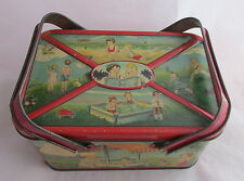Antique Vintage Tin Litho Lunch Box Pail Children Playing Outside Beach Pool +