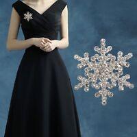 Snowflake Brooch Pins Crystal Rhinestone Wedding Bridal Christmas Jewellery Gift