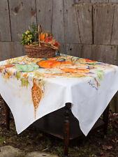 April Cornell Tablecloth Pumpkins Pheasants Watercolor Collection 54x54 NWT