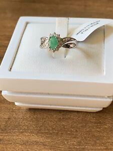 Zambian Emerald & Zircon Sterling Silver Ring Size K1/2