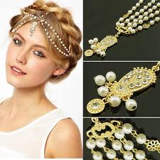 Women Retro Head Chain Jewelry Rhinestone Pearl Headband Head Piece Hair Band