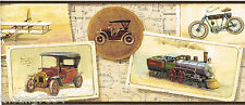Vintage Antique Car Train Bike Gramophone Airplane Biplane Wallpaper Border