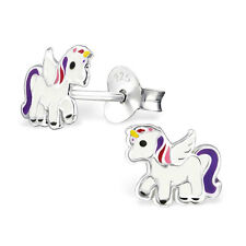 925 Sterling Silver Baby White Unicorn Purple Tail Kids Girls Stud Earrings Gift