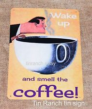 COFFEE TIN SIGN wake up and smell the coffee! cool retro 60s art cup shop cafe