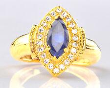 14KT Yellow Gold 1.70 Carat Natural Blue Tanzanite EGL Certified Diamond Ring
