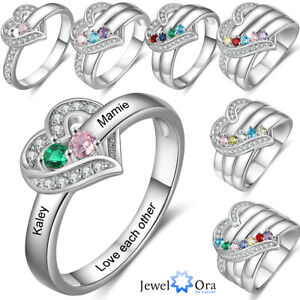 Personalized Promise S925 Silver Ring Engraving 1-8 Name Brithstone Jewelry Gift