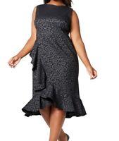 Calvin Klein Women's Dress Gray Size 16W Plus Sheath Ruffle Front Midi $129 #165
