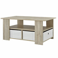 [en.casa] Table basse Table de salon table en bois chêne Table d'appoint Blanc