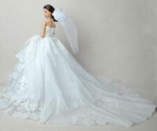 White Doll's Princess Dress Gown Wedding Clothes+Veil For Barbie Doll E01
