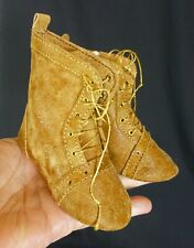 95mm ALL LEATHER BOOTS  for ANTIQUE DOLL , OOAK, VINTAGE DOLL, SHOES