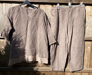 Elemente Clemente Taupe Linen Suit Top & Trousers Xl