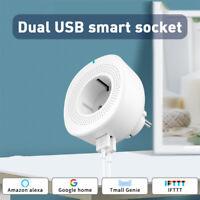 HOT!!! NEW Smart WiFi Socket EU Smart Plug Double USB Port for Alexa Google Home