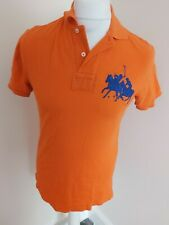 Ralph Lauren Rugby Polo Shirt 3 Orange Custom Small 38 Chest
