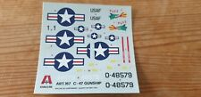 Original italeri C-47 Dakota Vietnam Gunship decals 1/72 New