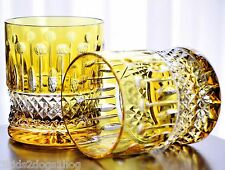 AJKA XENIA King Louis Yellow Gold Cut to Clear Crystal DOF Whiskey Glasses New