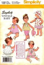 Simplicity Sewing Pattern 1813 Vintage Baby Romper Dress Pants Hat