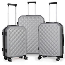 Set of 3 Luggage Set ABS Trolley Suitcase 360° Spinner Wheels Lock 20