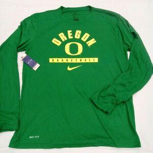 OREGON DUCKS basketball NIKE Dri Fit apple green shirt Men long sleeve sz Large