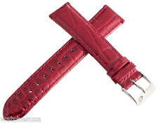 Elini Mens 18mm Alligator Embossed Genuine Leather Glossy Red Watch Band Strap