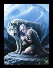 3d CUADRO CON LOBO - Protector - Anne Stokes Fantasy Impresión Lienzo - Póster